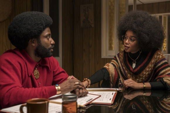 Washington with Laura Harrier as Patrice in BlacKkKlansman