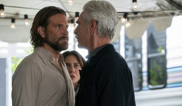Bradley Cooper and Lady Gaga with Sam Elliott as Bobby in A Star Is Born